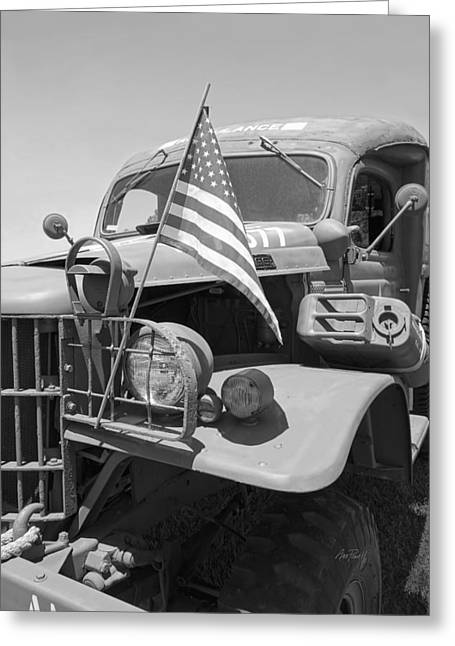 Vintage Army Ambulance In Black And White Greeting Card by Ann Powell