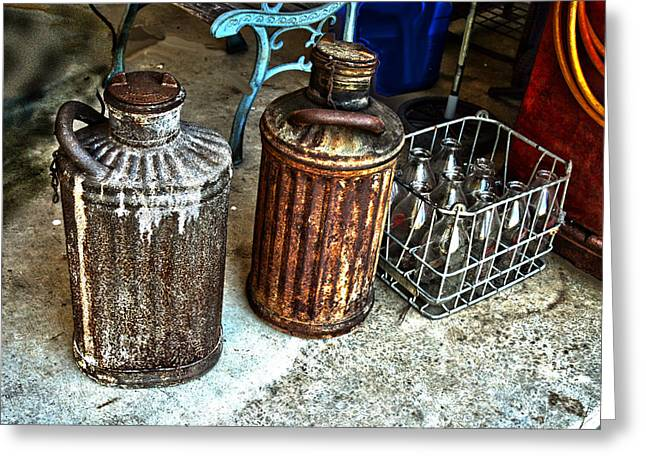 Hdr Vintage Art  Cans And Bottles Greeting Card