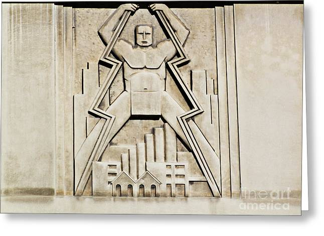 Vintage Art Deco Muscular Man   Greeting Card
