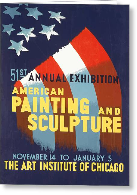 Vintage Art Institute Of Chicago Greeting Card by American Classic Art