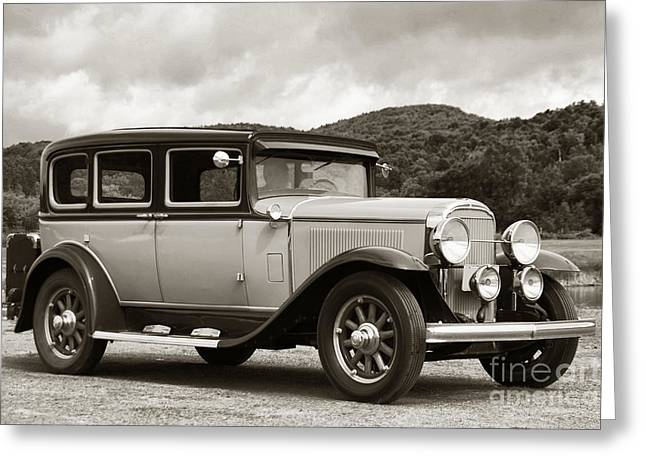Vintage Automobile On Dirt Road Greeting Card by Olivier Le Queinec