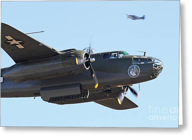 Vintage B-25 Mitchell Bomber Greeting Card