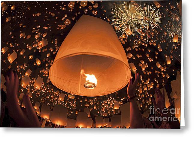 Vintage Balloon In Float Lamp Festival Greeting Card by Anek Suwannaphoom