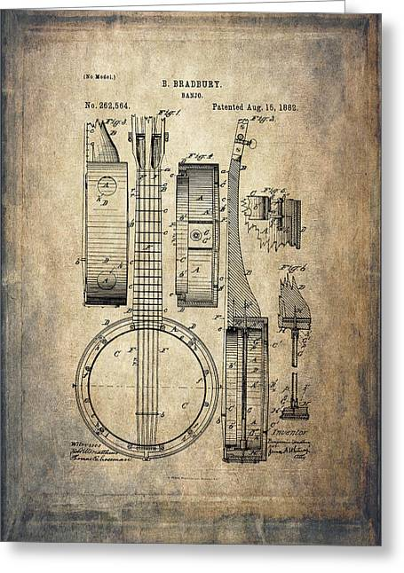 Vintage Banjo Patent Drawing Greeting Card by Maria Angelica Maira