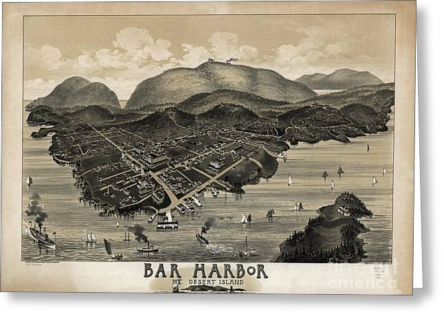 Vintage Bar Harbor Map Greeting Card by Charles Jorgensen