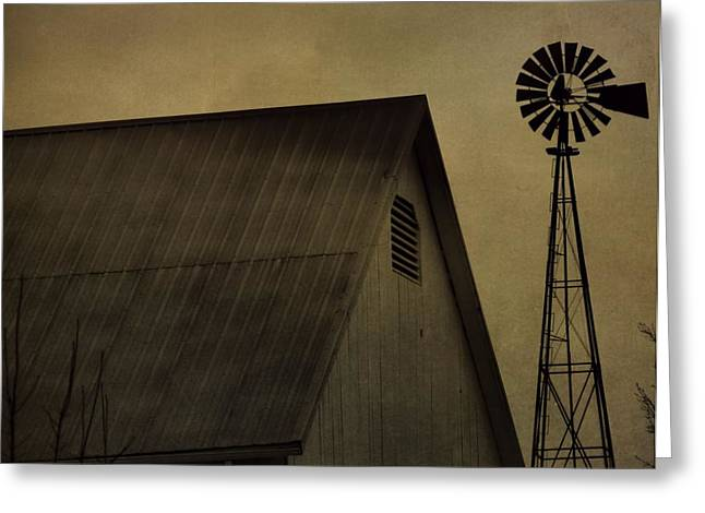 Vintage Barn And Windmill Greeting Card by Dan Sproul