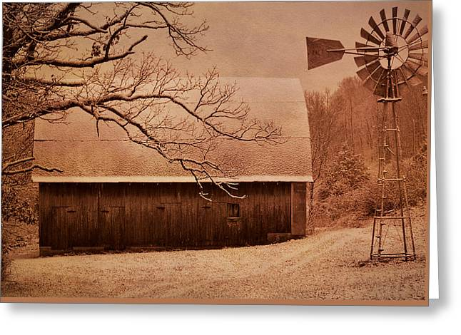 Vintage Barn And Windmill Winter Greeting Card by Deena Stoddard