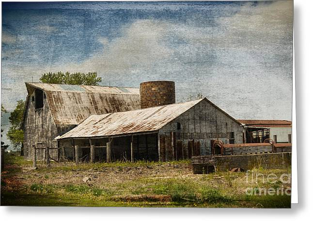 Barn -vintage Barn With Brick Silo - Luther Fine Art Greeting Card by Luther Fine Art