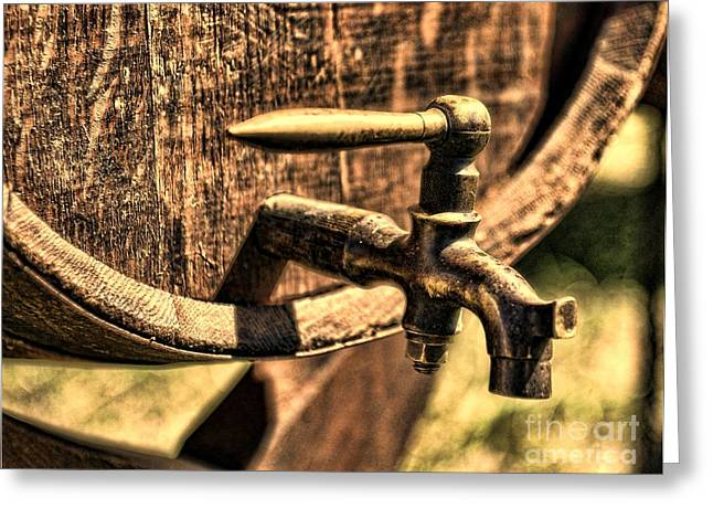 Vintage Barrel Tap Greeting Card by Paul Ward