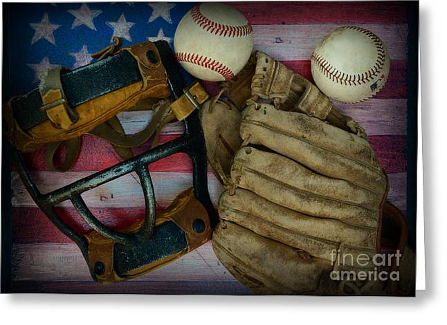 Vintage Baseball American Folk Art Greeting Card by Paul Ward