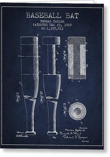 Vintage Baseball Bat Patent From 1919 Greeting Card by Aged Pixel