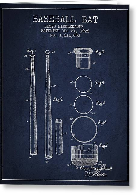Vintage Baseball Bat Patent From 1926 Greeting Card