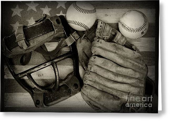 Vintage Baseball Equipment Greeting Card by Paul Ward