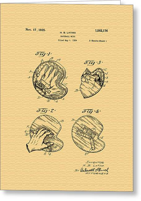 Vintage Baseball Glove Patent - 1925 Greeting Card by Mountain Dreams