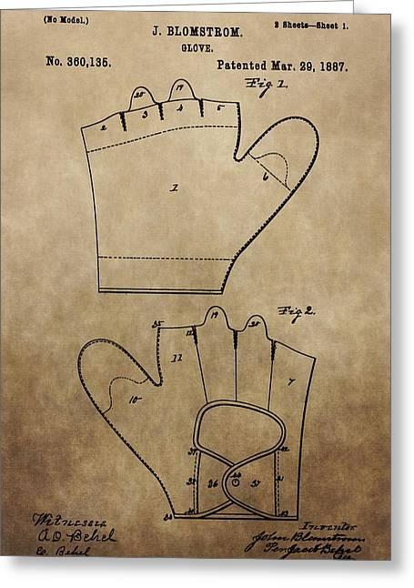 Vintage Baseball Glove Patent Greeting Card