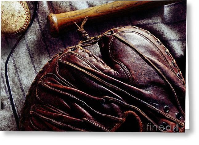 Vintage Baseball Greeting Card by Jon Neidert