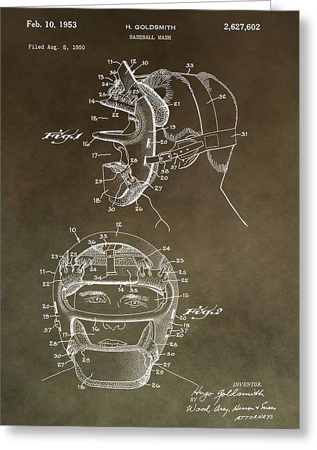 Vintage Baseball Mask Patent Greeting Card by Dan Sproul