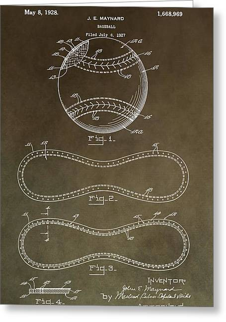 Vintage Baseball Patent Greeting Card by Dan Sproul