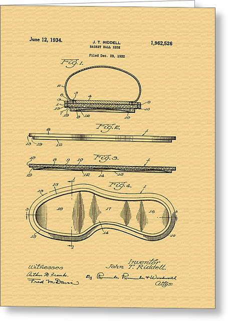 Vintage Basketball Shoe Patent - 1932 Greeting Card by Mountain Dreams