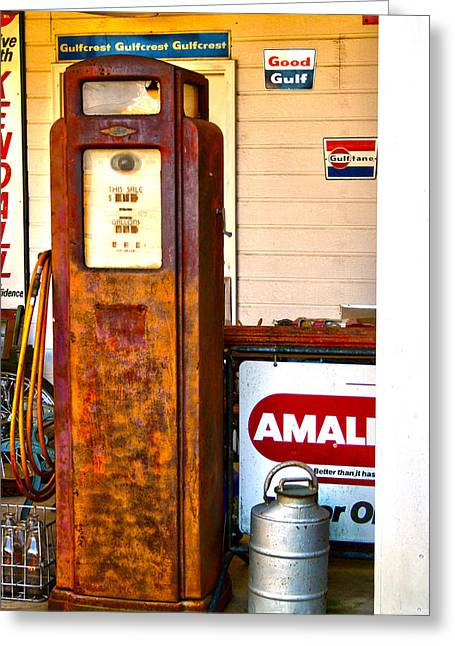 Greeting Card featuring the photograph Vintage Bassett Gas Pump   by Lesa Fine