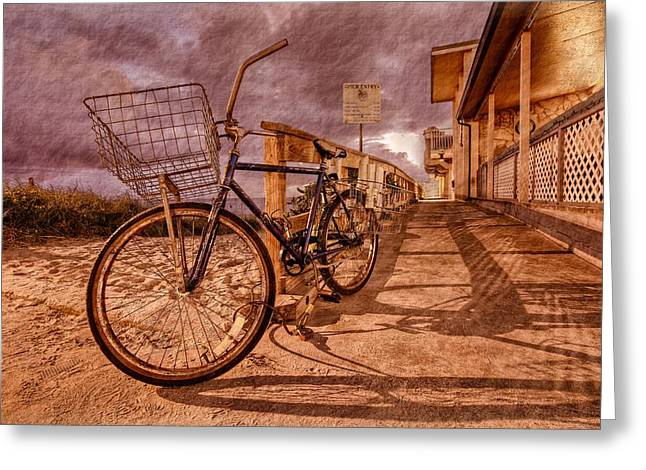 Hobe Sound Greeting Cards - Vintage Beach Bike Greeting Card by Debra and Dave Vanderlaan