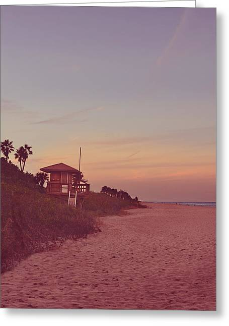 Vintage Beach Hut Greeting Card by Laura Fasulo