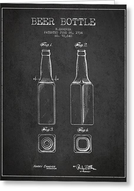 Vintage Beer Bottle Patent Drawing From 1934 - Dark Greeting Card by Aged Pixel
