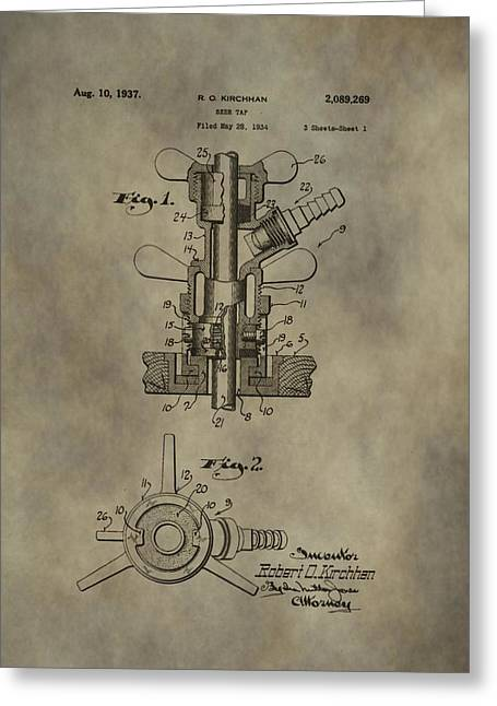 Vintage Beer Tap Patent Greeting Card by Dan Sproul