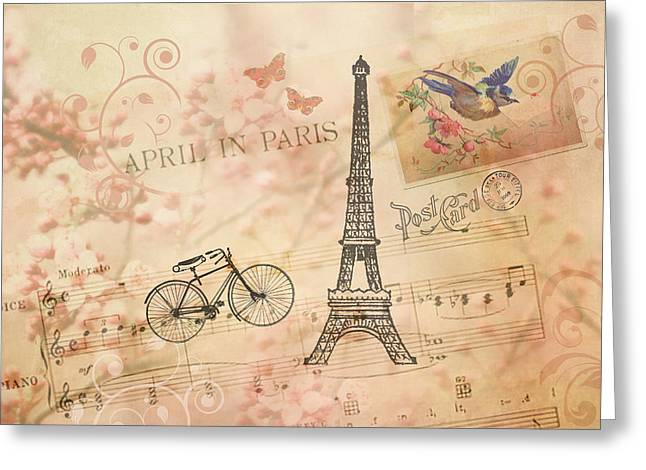Vintage Bicycle And Eiffel Tower Greeting Card by Peggy Collins