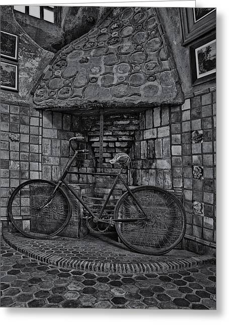 Vintage Bicycle Bw Greeting Card by Susan Candelario