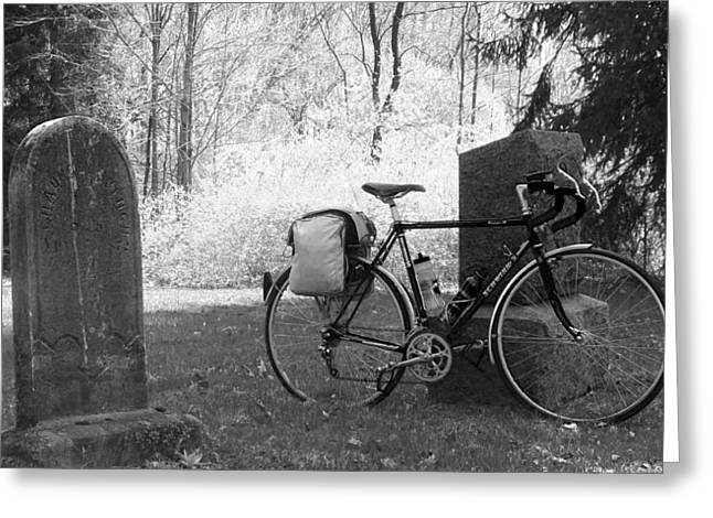 Vintage Bicycle In Graveyard Greeting Card by Joyce  Wasser