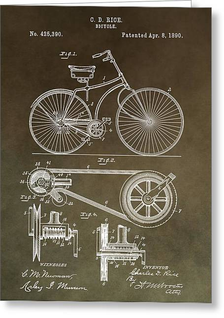 Vintage Bicycle Patent Brown Greeting Card by Dan Sproul