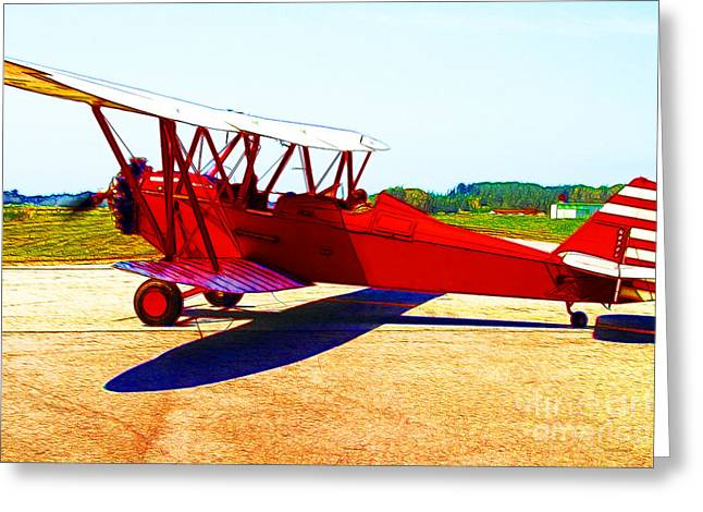 Vintage Biplane - 7d15525 - Color Sketch Style Greeting Card by Wingsdomain Art and Photography