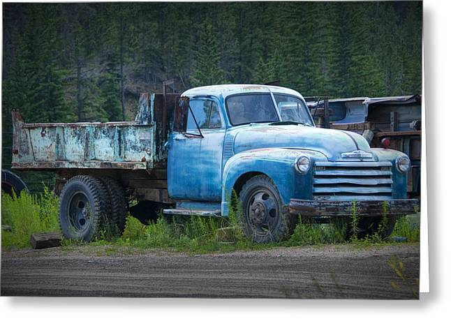 Vintage Blue Chevrolet Pickup Truck Greeting Card