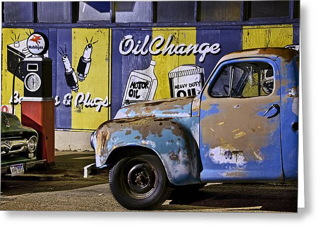 Vintage Blue Pickup And Gas Station Near Bisbee Az Greeting Card
