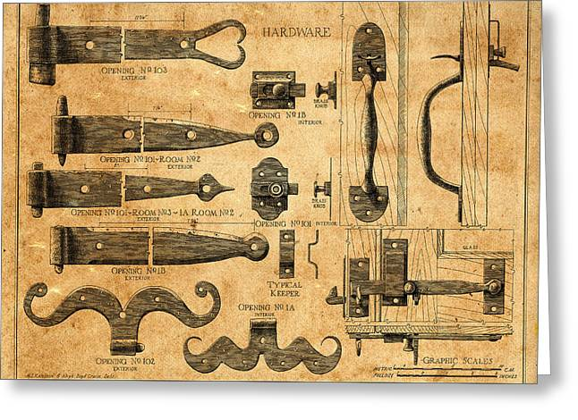 Vintage Blueprints 5 Greeting Card by Andrew Fare