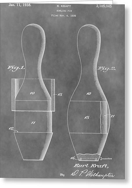Vintage Bowling Pins Patent Greeting Card