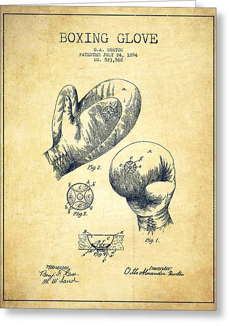 Vintage Boxing Glove Patent Drawing From 1894 - Vintage Greeting Card