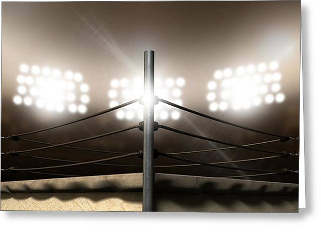 Vintage Boxing Ring In Arena Greeting Card by Allan Swart