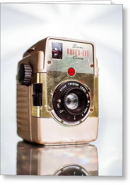 Vintage Brownie Bullseye Camera Greeting Card by Jon Woodhams