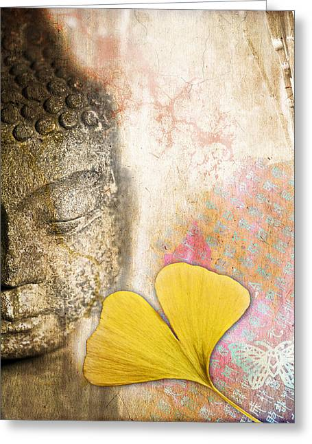 Vintage Buddha And Ginkgo Greeting Card