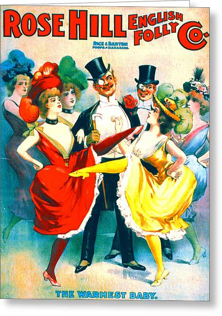 Vintage Burlesque Playbill 1899 Greeting Card by Padre Art