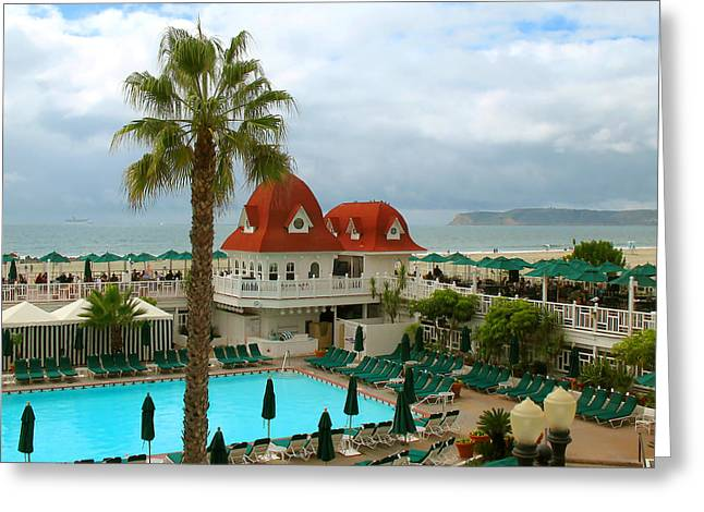 Greeting Card featuring the photograph Vintage Cabana At The Del by Connie Fox