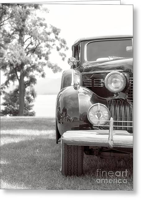 Vintage Caddy Automobile Black And White Greeting Card by Edward Fielding