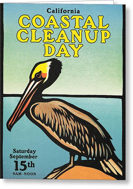 Vintage California Coastal Cleanup Day Pelican Poster Greeting Card