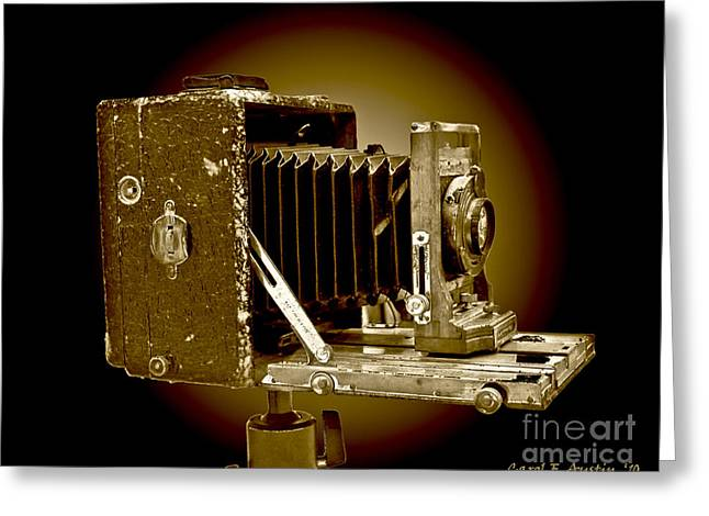 Vintage Camera In Sepia Tones Greeting Card