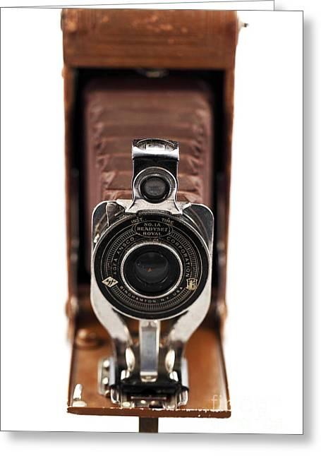 Vintage Camera Greeting Card by John Rizzuto