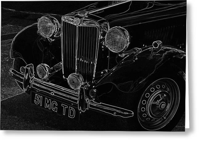 Vintage Car Art 1951 Mg Td Line Art Greeting Card by Lesa Fine