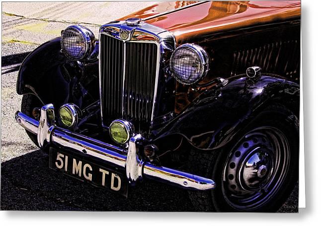 Vintage Car Art 51 Mg Td Copper Greeting Card