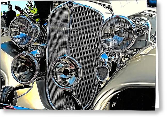 Vintage Car Art Buick Grill And Headlight Hdr Greeting Card
